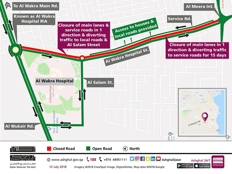 Temporary Partial Diversion of Al Wakra Hospital Street