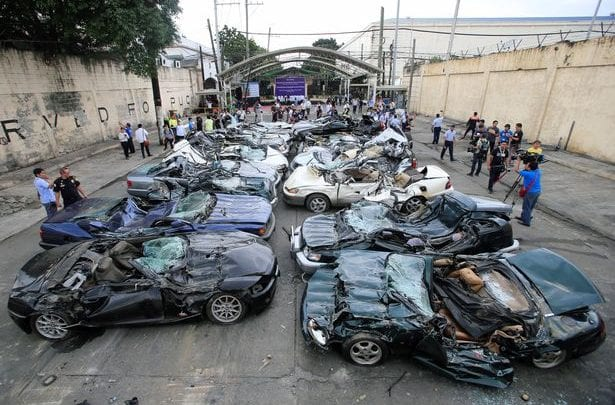 philippines President destroys $5.5 million worth of luxury cars