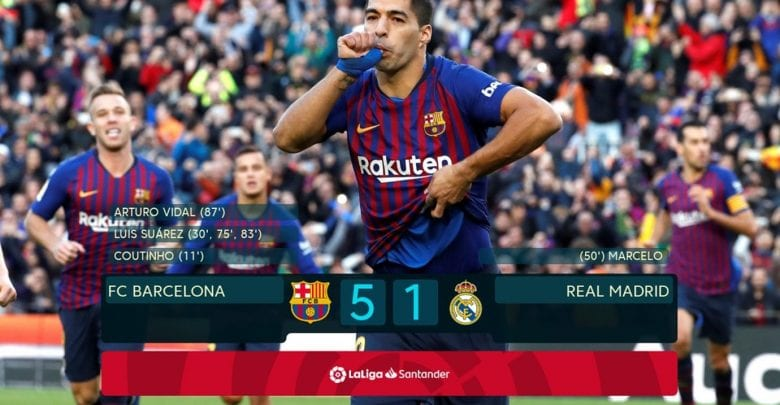 Suarez hits hat-trick as Barcelona blow away Madrid