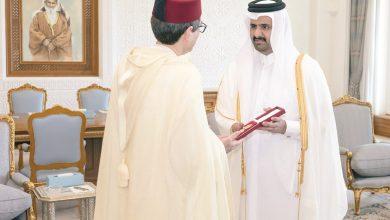 Photo of Deputy Amir greets outgoing Moroccan Ambassador