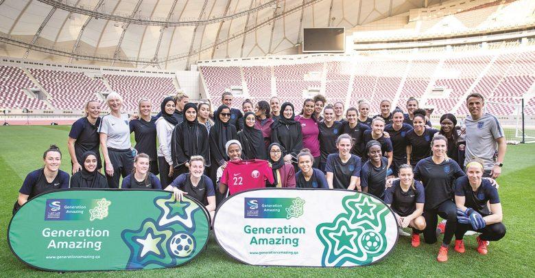 Young Qatari footballers meet England team at QFA-Generation Amazing event