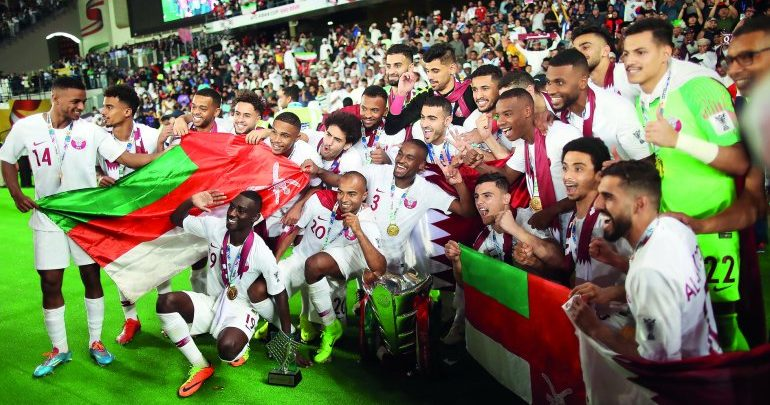 Qatar Team celebrate winning AFC Asian Cup with Omani fans