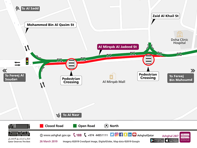 Partial Shift of Traffic on Al Mirqab Al Jadeed Street for 1 Month