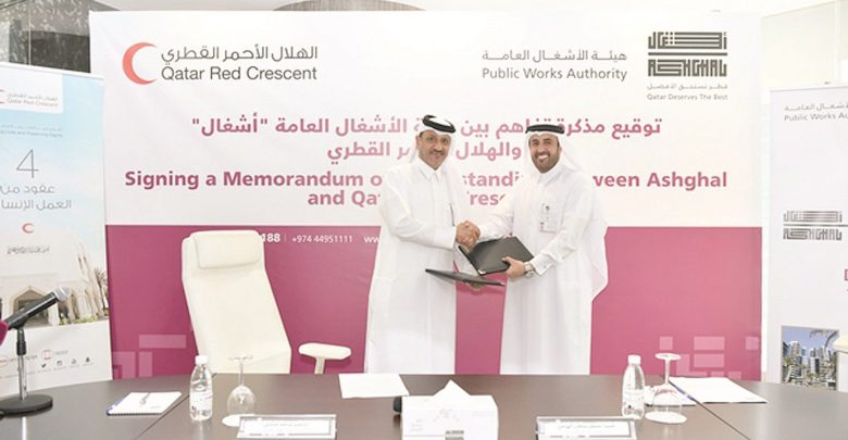 Ashghal signs MoU with Qatar Red Crescent Society