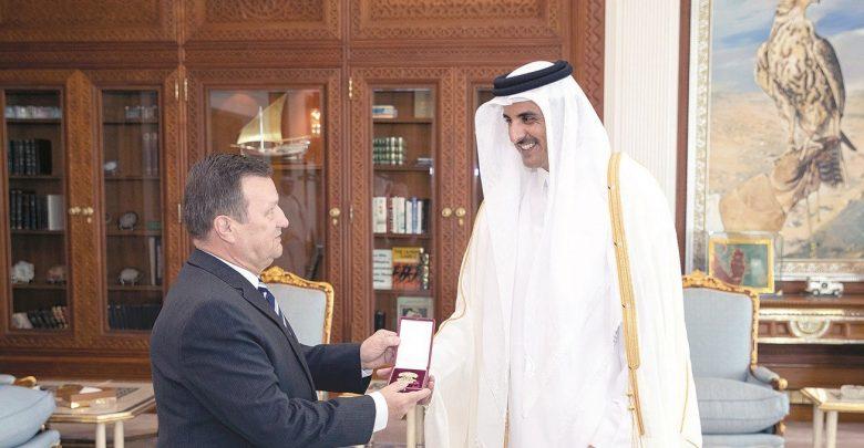 Amir honours Ambassador of Ukraine with Al Wajbah Decoration