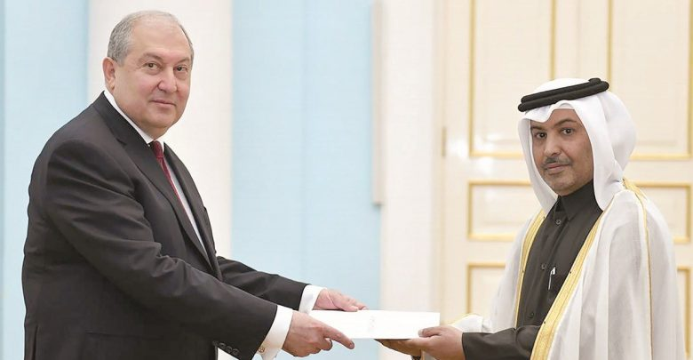 President of Armenia receives credentials of Qatari Envoy