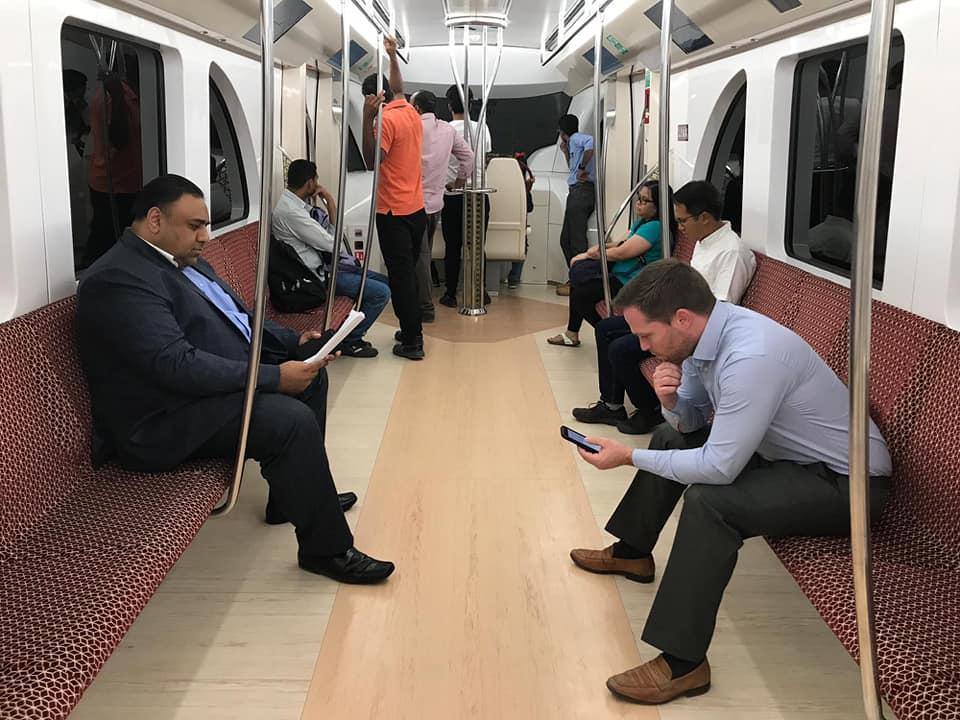 British embassy staff members ride Doha Metro
