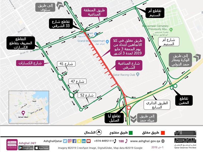 Traffic diversion in both directions along 2.5 kilometres of East Industrial Street Extension
