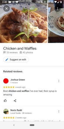 Google Maps helps you choose popular dishes when checking out a restaurant