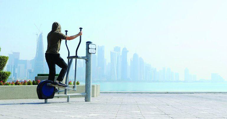 Outdoor fitness equipment at Doha Corniche