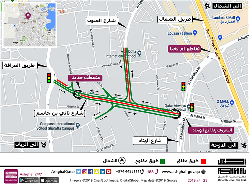 Closure of 1 Lane in Each Direction on Al Oyoun & Thani bin Jassim Streets