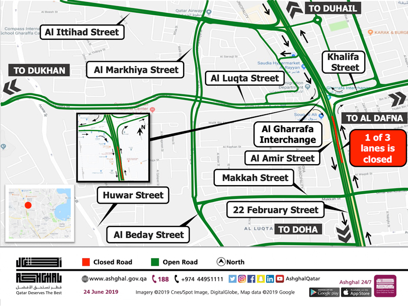 Temporary Closure of 1 lane of Al Gharrafa Bridge for 3 Weeks
