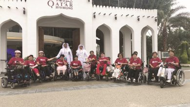 Photo of Qatar's pavilion at Beijing exhibition welcomes special needs delegation