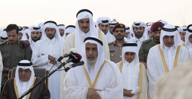 H.H The Emir perform eid prayer