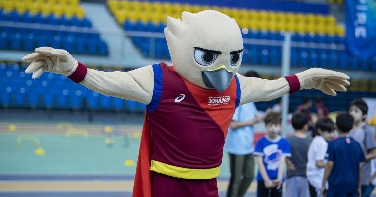 Falah the Falcon in Qatar ahead of IAAF Doha 2019 Championships