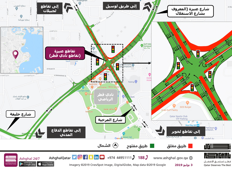 Temporary Closure of some lanes at Onaiza Intersection (Qatar Sports Club Intersection)