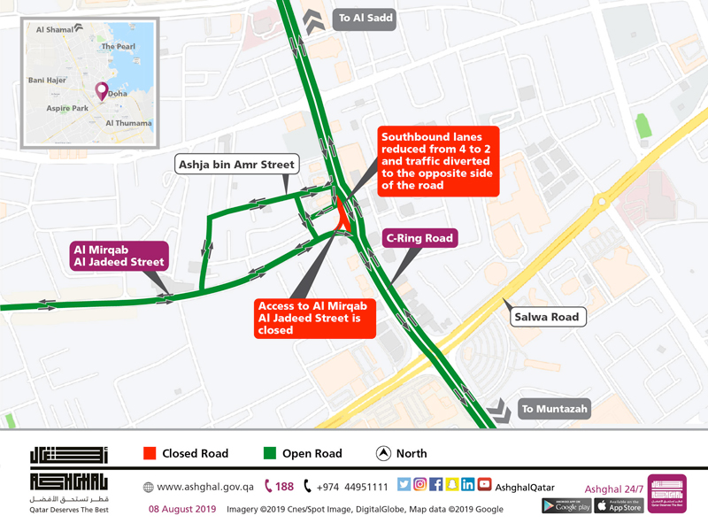 Temporary traffic shift along 150 meters of C-Ring Road