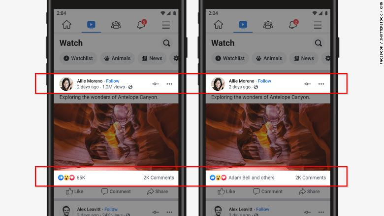 Facebook is rolling out a test to hide your likes