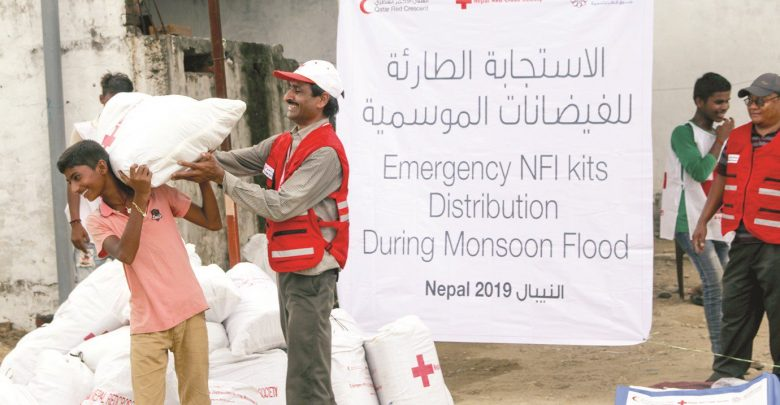 An urgent humanitarian response from QRCS to Nepal flood victims