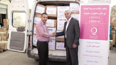 Photo of Palestinian children receive school bags from Qatar Charity