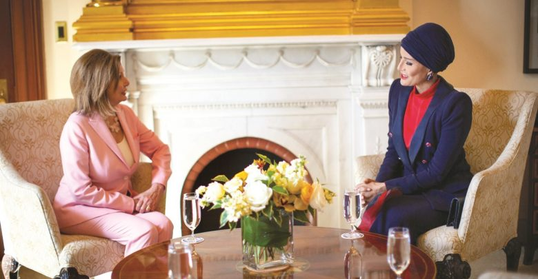 Sheikha Moza meets Speaker of the US House of Representatives