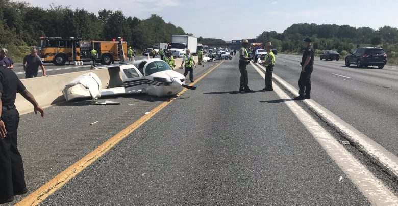Plane crash on highway in Maryland
