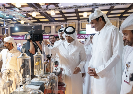 Amir visits Katara falcons exhibition