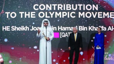 Photo of Sheikh Joaan recognised for contribution to the Olympic Movement