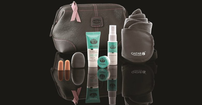 Qatar Airways offering BRIC's pink-themed amenity kits to raise breast cancer awareness