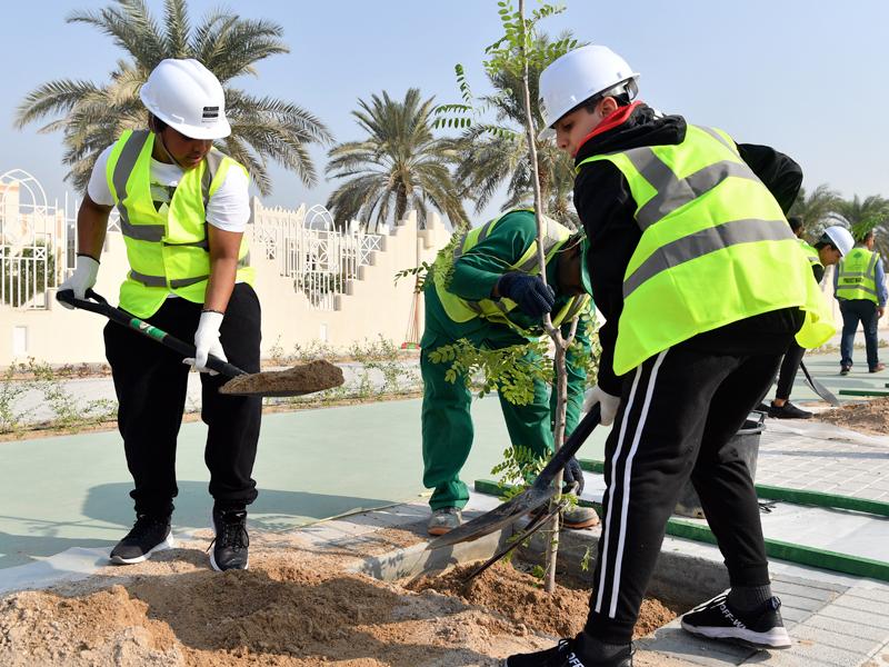 Al Ahnaf Bin Qais Preparatory School Students Join Ashghal to Plant 60 Trees