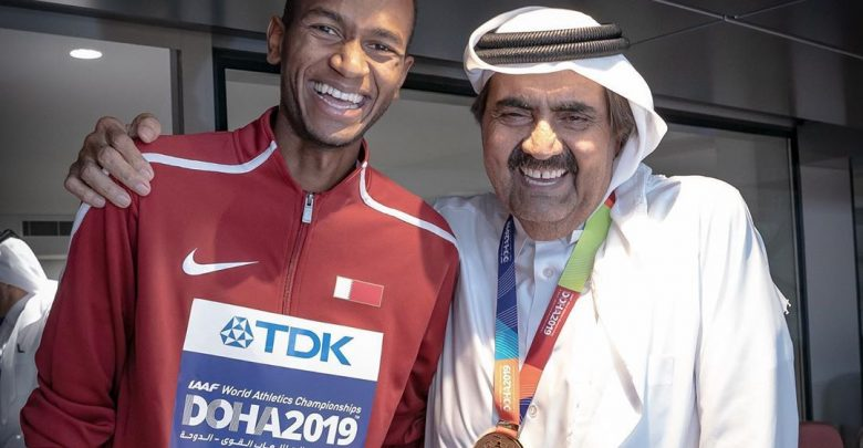 HH The Father Amir with the world champion Mutaz Barshim