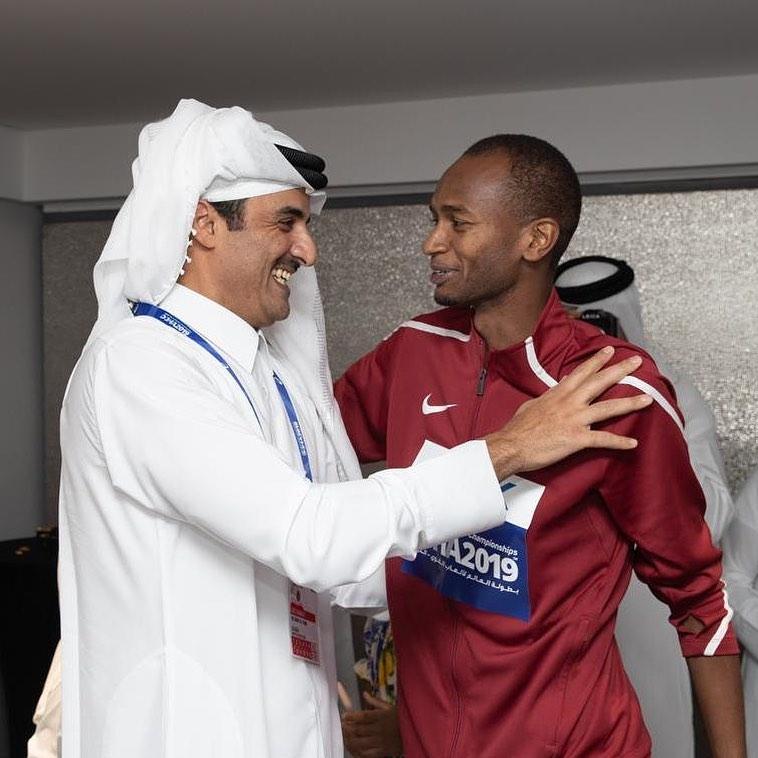 Amir watches Barshim winning high jump gold for Qatar