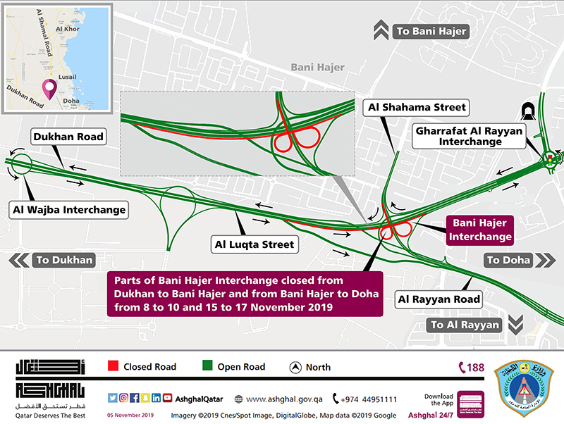 Closure on parts of Bani Hajer Interchange on Khalifa Avenue
