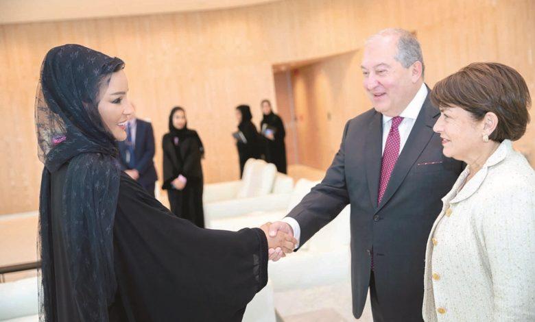 Sheikha Moza meets President of Armenia