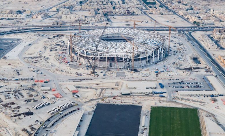 The features of Al Thumama Stadium start to appear clearly