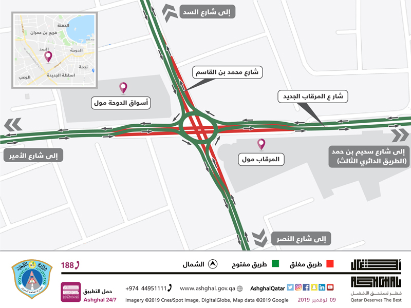 Conversion of Al Mirqab Al Jadeed St into a temporary roundabout
