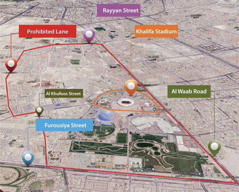 Maps of roads closed for trucks and buses during Gulf Cup
