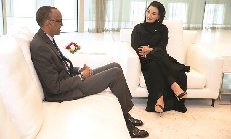 Sheikha Moza meets President of Rwanda