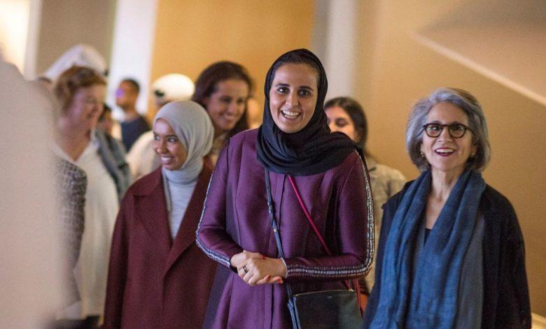 Sheikha Mayassa greets Sheikha Hussa at NMoQ