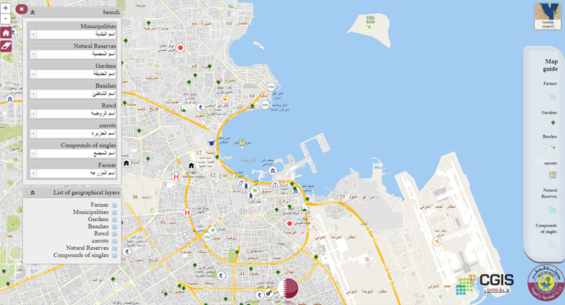 Search option supported map for picnic and entertainment spots in Qatar