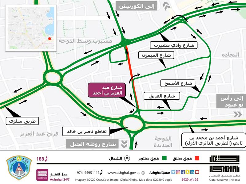 Partial closure on Abdul Aziz bin Ahmed Street