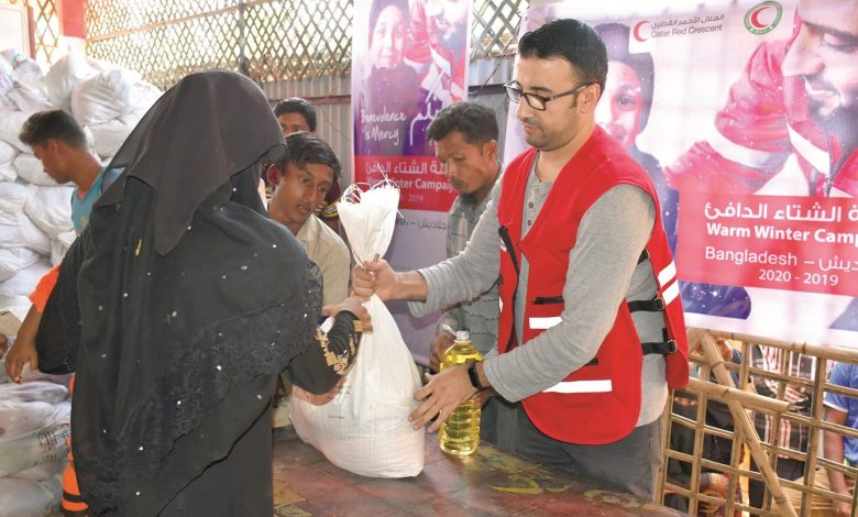 QRCS, BDRCS distribute food aid to 3,220 refugee families in Bangladesh