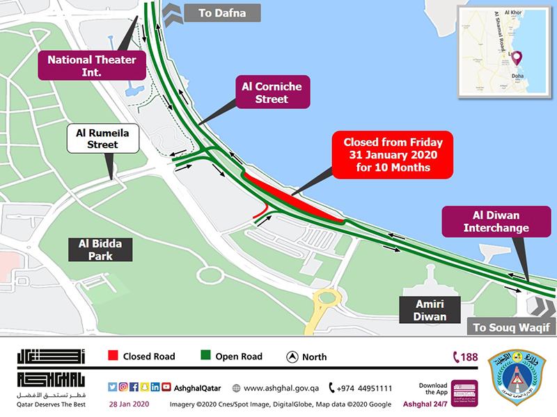Partial Traffic Shift on Al Corniche Street between Al Diwan Interchange and National Theater Intersection