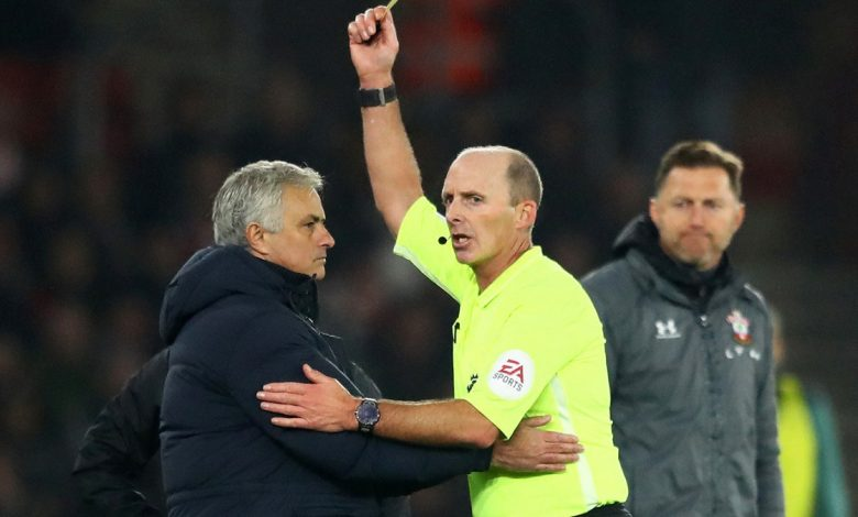 Mourinho is the first coach to receive a yellow card in history for this behaviour