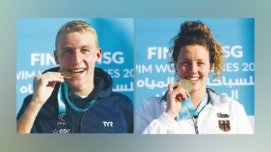 Photo of A wonderful and exciting conclusion to the open water marathon .. Sensational Beck, Olivier clinch Doha titles