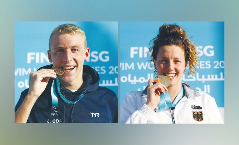A wonderful and exciting conclusion to the open water marathon .. Sensational Beck, Olivier clinch Doha titles