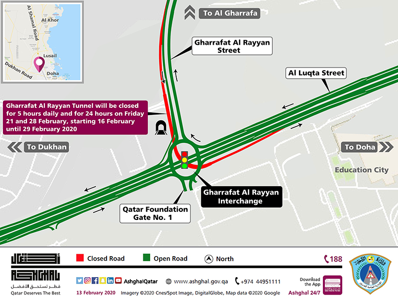 Temporary Closure on Gharrafat Al Rayyan Interchange Tunnel