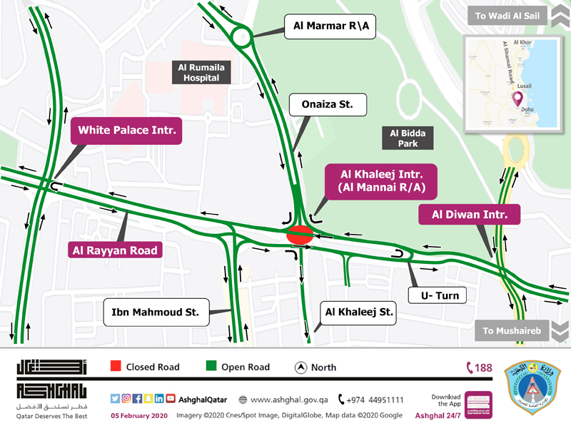 Closure of the Temporary Roundabout on Al Kahleej Intersection