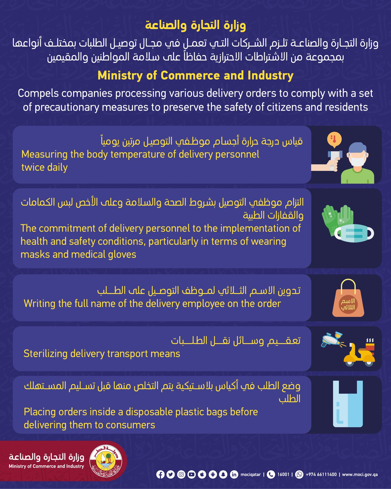 Ministry obligates delivery companies to follow strict precautionary measures