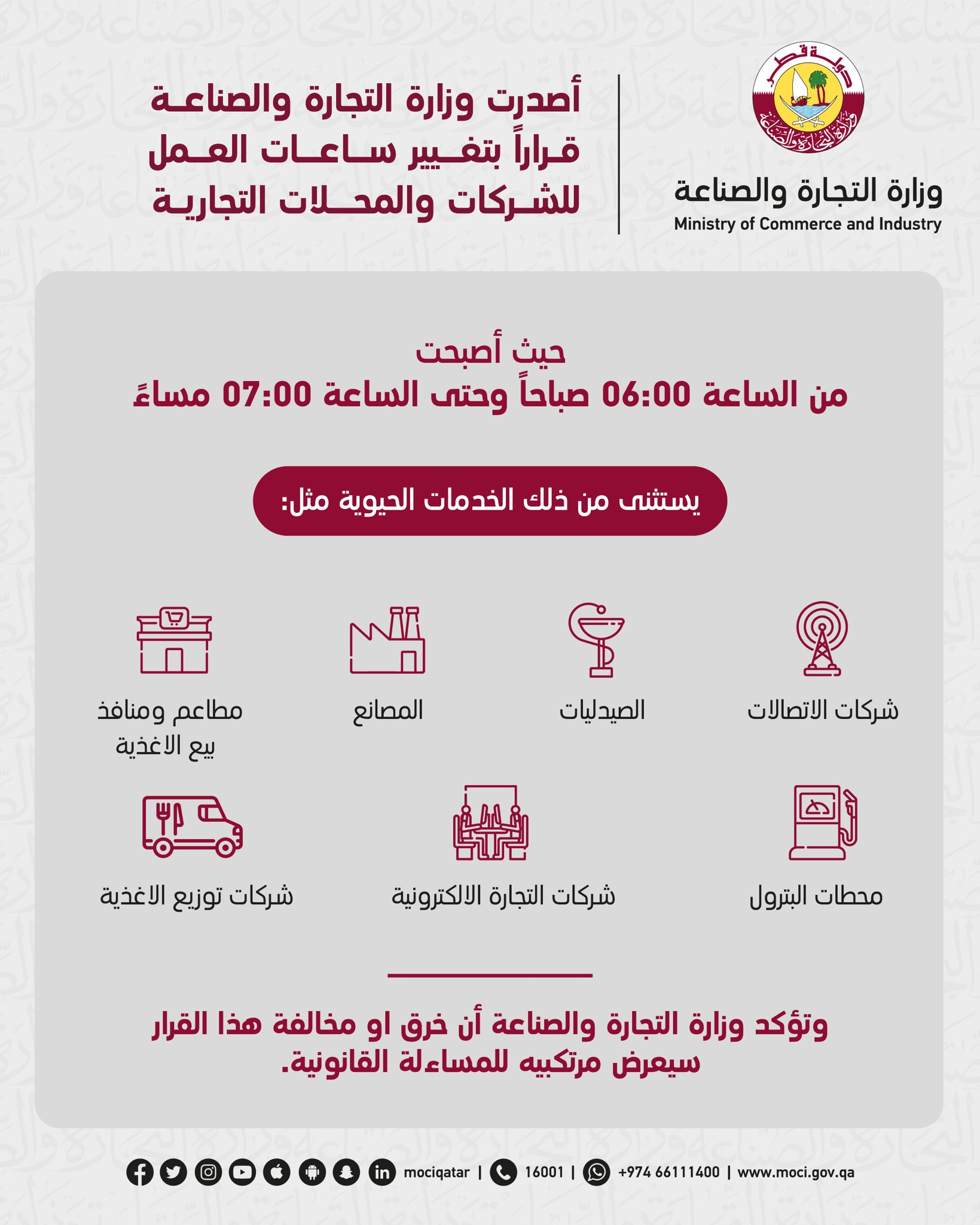 Ministry changes working hours of companies and commercial stores